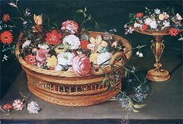 A Basket of Flowers, undated by Jan Bruegel the Elder | Painting Reproduction