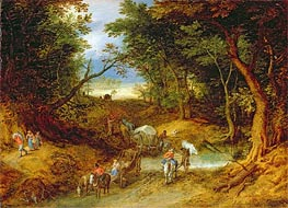 Travellers in a Forest Landscape | Jan Bruegel the Elder | Painting Reproduction