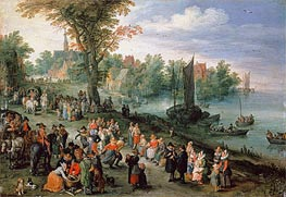 Wooded River Landscape with Peasants and Travellers | Jan Bruegel the Elder | Painting Reproduction
