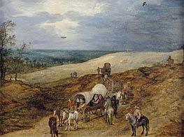 Landscape with Wagons | Jan Bruegel the Elder | Gemälde Reproduktion