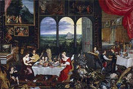 Taste, Hearing and Touch | Jan Bruegel the Elder | Gemälde Reproduktion