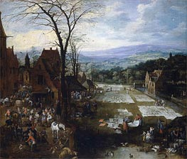 Flemish Market and Washing Place | Jan Bruegel the Elder | Gemälde Reproduktion