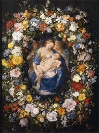 Garland with the Virgin, the Christ Child and two Angels | Jan Bruegel the Elder | Gemälde Reproduktion