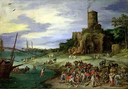 Fishermen on the Shore (Coastal Landscape with the Tomb of Scipion), 1607 von Jan Bruegel the Elder | Gemälde-Reproduktion