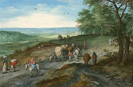 Panoramic Landscape with Covered Waggon and Travellers, 1612 von Jan Bruegel the Elder | Gemälde-Reproduktion