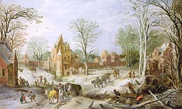 A Wooded Winter Landscape with a Cart  | Jan Bruegel the Elder | Gemälde Reproduktion
