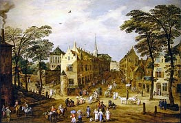 A View of a Flemish Street with Townsfolk and Waggoners | Jan Bruegel the Elder | Gemälde Reproduktion