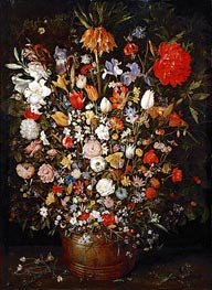 Flowers in a Wooden Vessel | Jan Bruegel the Elder | Gemälde Reproduktion