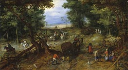A Woodland Road with Travelers | Jan Bruegel the Elder | Gemälde Reproduktion