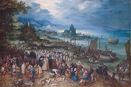 Harbour Scene with Christ preaching, 1598 von Jan Bruegel the Elder | Gemälde-Reproduktion