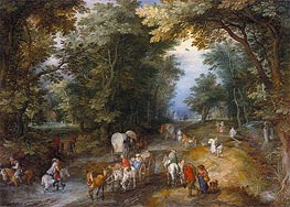 Busy Forest Track, 1605 von Jan Bruegel the Elder | Gemälde-Reproduktion