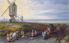 Windmills on a Broad Plain, 1611 by Jan Bruegel the Elder | Painting Reproduction