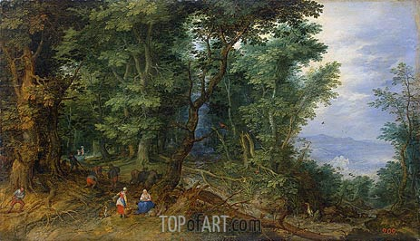 Wooden Landscape (The Rest on the Flight into Egypt), 1607 | Jan Bruegel the Elder | Painting Reproduction