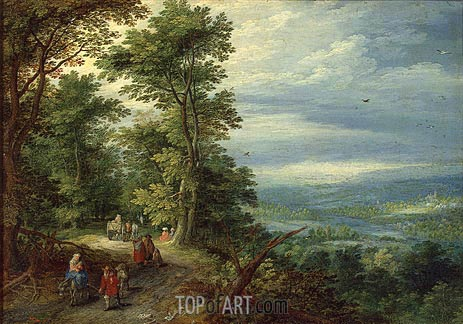 Edge of the Forest (The Flight into Egypt), 1610 | Jan Bruegel the Elder | Gemälde Reproduktion