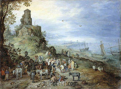 Coastal Landscape with the Calling of St. Peter and Andrew, 1608 | Jan Bruegel the Elder | Gemälde Reproduktion