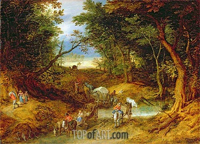 Travellers in a Forest Landscape, 1608 | Jan Bruegel the Elder | Painting Reproduction