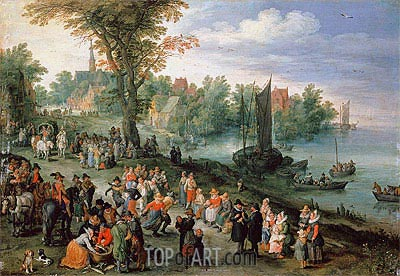 Wooded River Landscape with Peasants and Travellers, Undated | Jan Bruegel the Elder | Painting Reproduction
