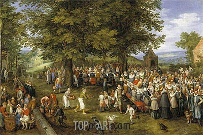 Wedding Banquet Presided Over by the Archduke and Infanta, c.1612 | Jan Bruegel the Elder | Gemälde Reproduktion