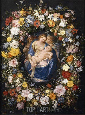 Garland with the Virgin, the Christ Child and two Angels, c.1620 | Jan Bruegel the Elder | Gemälde Reproduktion