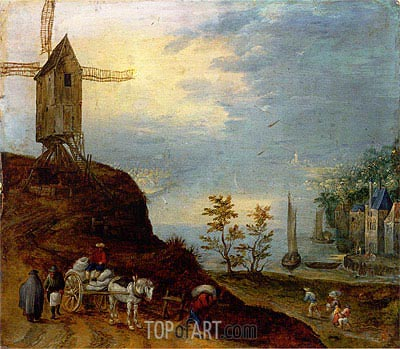 An Extensive River Landscape with a Windmill and Travellers on a Path, Undated | Jan Bruegel the Elder | Gemälde Reproduktion