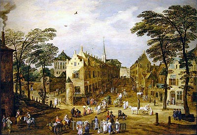 A View of a Flemish Street with Townsfolk and Waggoners, undated | Jan Bruegel the Elder | Gemälde Reproduktion