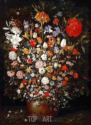 Flowers in a Wooden Vessel, c.1606/07 | Jan Bruegel the Elder | Painting Reproduction