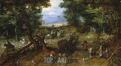 A Woodland Road with Travelers, 1607 | Jan Bruegel the Elder | Gemälde Reproduktion