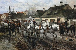 A Horse Market in Poland, 1886 by Jan van Chelminski | Painting Reproduction