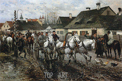 A Horse Market in Poland, 1886 | Jan van Chelminski | Painting Reproduction