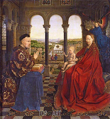 The Virgin of Chancellor Rolin, c.1435 | Jan van Eyck | Painting Reproduction