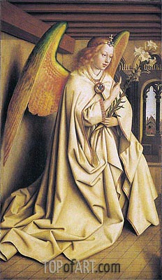 The Angel Gabriel passes the Message to Maria (The Ghent Altarpiece), 1432 | Jan van Eyck | Gemälde Reproduktion