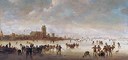 Winter Landscape with Skaters near Dordrecht, undated by Jan van Goyen | Painting Reproduction