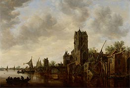 River Landscape with the Pellecussen Gate near Utrecht, 1648 by Jan van Goyen | Painting Reproduction