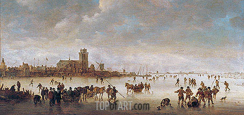 Winter Landscape with Skaters near Dordrecht, undated | Jan van Goyen | Painting Reproduction