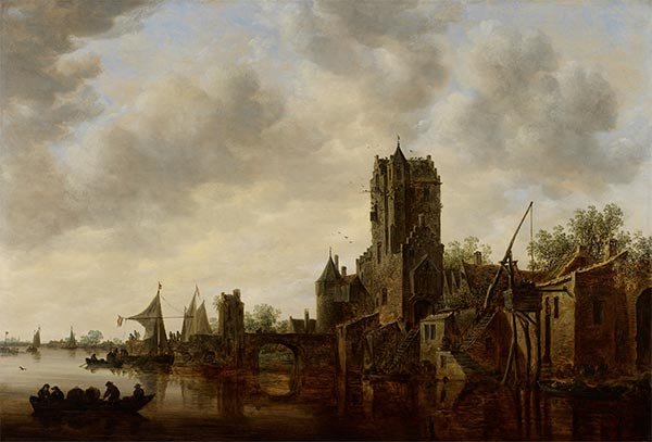 River Landscape with the Pellecussen Gate near Utrecht, 1648 | Jan van Goyen | Painting Reproduction