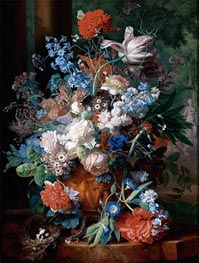 Bouquet of Flowers Against a Park Landscape | Jan van Huysum | Painting Reproduction