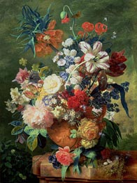 Still Life of Flowers and a Bird's Nest on a Pedestal | Jan van Huysum | Painting Reproduction