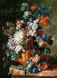Bouquet of Flowers in an Urn, 1724 by Jan van Huysum | Painting Reproduction