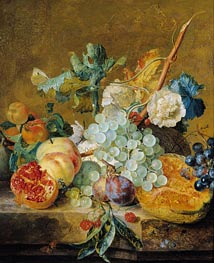 Flowers and Fruit, c.1715/30 von Jan van Huysum | Gemälde-Reproduktion