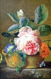 A Basket with Flowers, 1744 von Jan van Huysum | Gemälde-Reproduktion