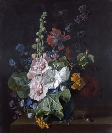 Hollyhocks and Other Flowers in a Vase | Jan van Huysum | Painting Reproduction