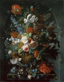 Vase of Flowers in a Niche, c.1732/36 by Jan van Huysum | Painting Reproduction