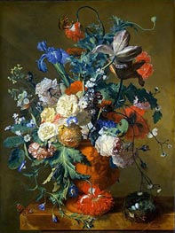 Flowers in an Urn, c.1720 von Jan van Huysum | Gemälde-Reproduktion