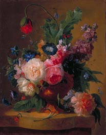 Flower Piece, 1740 by Jan van Huysum | Painting Reproduction