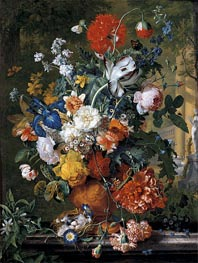 Flowers in a Terracotta Vase on a Marble Ledge, undated by Jan van Huysum | Painting Reproduction