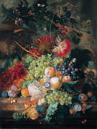 A Still Life of Fruit in a Basket With Flowers And Other Fruit, undated by Jan van Huysum | Painting Reproduction