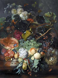 Still Life of Fruit Upon a Marble Ledge | Jan van Huysum | Painting Reproduction