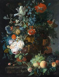 Still Life with Flowers and Fruit, undated von Jan van Huysum | Gemälde-Reproduktion