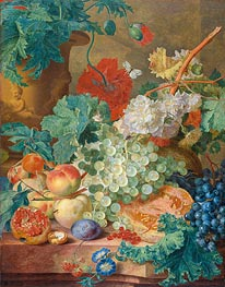 Still Life with Flowers and Fruits, 1749 von Jan van Huysum | Gemälde-Reproduktion