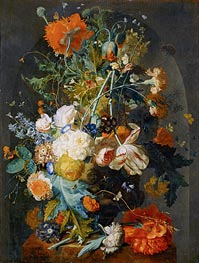 Vase of Flowers in a Niche | Jan van Huysum | Painting Reproduction